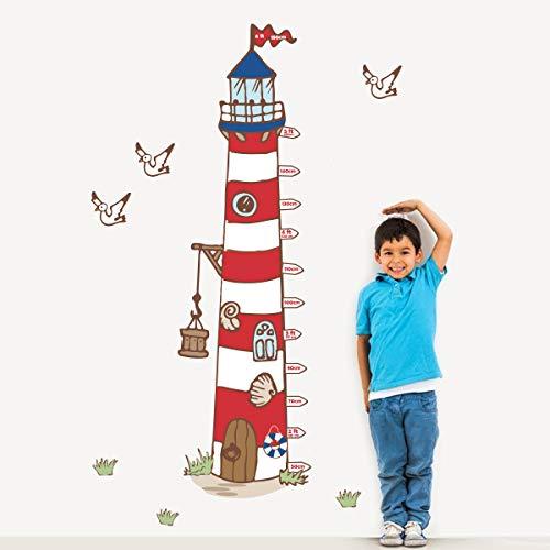 decalmile Höhentabelle Wandtattoo Groß Leuchtturm Wandsticker Möwe Kinderzimmer Wandaufkleber Babyzimmer Schlafzimmer Wohnzimmer Wanddeko