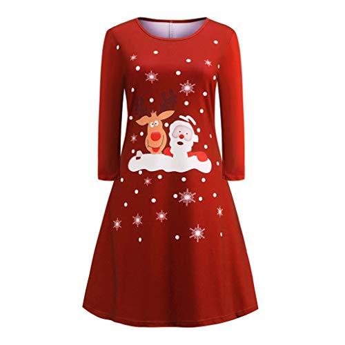 Home & Garden,Halloween & Christmas Home Decor,hahashop2 Frauen drucken Langarm Weihnachtsabend Party Minikleid