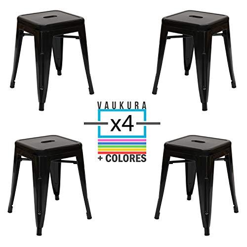 Vaukura Taburete Bajo Tolix (Pack 4) - Taburete Industrial Metalico Brillo (Negro)