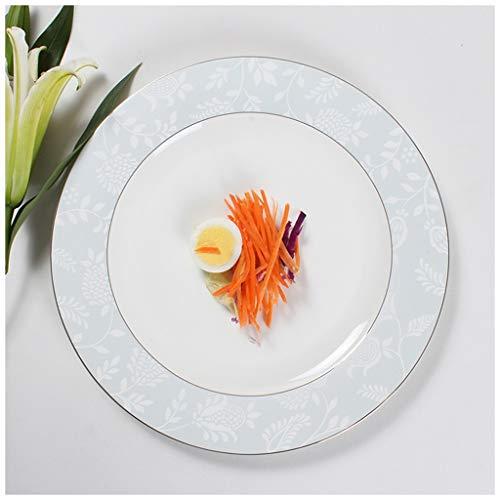 CJW Assiette en porcelaine tendre européenne de luxe - Double ensemble de tables occidentales avec petit-déjeuner argenté (Taille : 26cm)
