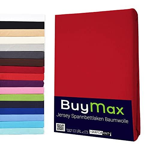 Buymax Spannbettlaken 120x200-130x200 cm Spannbetttuch Bettlaken 100% Baumwolle Jersey Bettbezug für Matratzen bis 25 cm Steghöhe, Rot