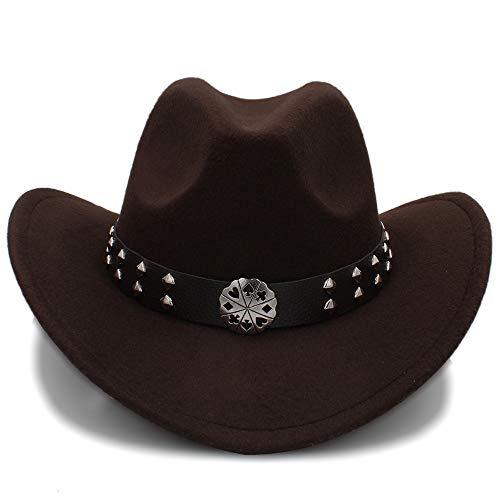 SSLA SSLA 2018 Western Cowboy Hüte Nachahmung Wolle Material Herren Damen Visier Hut Reise Leistung Punk Cowgirl Cap (Farbe : Kaffee, Größe : 56-58cm)
