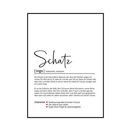 Definition Schatz | Personalisiertes Poster | Liebe | Traumpaar | Geschenk | Weihnachten | Danke | OHNE Rahmen