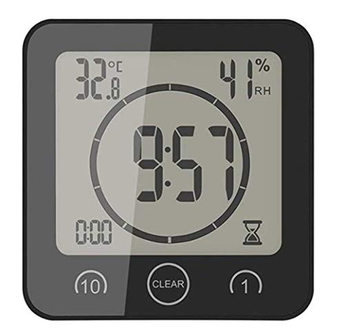 R&Xrenxia Thermomètre ambiant électronique LCD numérique hygromètre hygromètre Station météorologique Aquarium Salle de Bain intérieure avec réveil,Noir