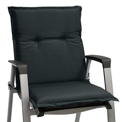Beautissu Stuhlauflage Niederlehner Base NL Sitzauflage 100x50x6cm Sitzpolster für Garten Balkon Camping Stuhl Sitzkissen Graphit-Grau