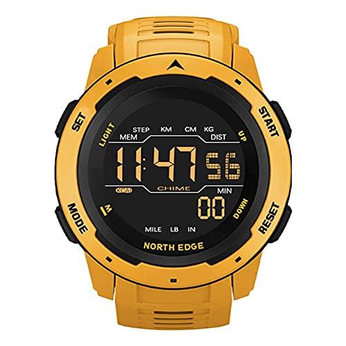 SmartWatch para Hombres Relojes Inteligentes Relojes Deportivos de Hombre de Tiempo de Doble Tiempo de Reloj de Alarma Impermeable 50m Reloj Digital Reloj Militar (Color : Yellow)