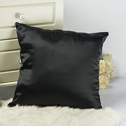 Tim & Tina Decorative Pillow Covers 100% Mulberry Silk Satin Pillowcase for Bed Room Couch 45cmx45cm (18' x 18', Black)