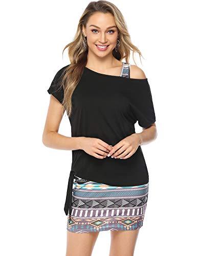 Abollria Damen 2 in 1 Sommerkleid Zweiteiler Freizeitkleid Set Stretch Figurbetontes Ärmelloses Kleid mit Oversize Sommershirt