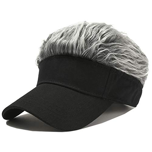 Flair Hair Visor Sun Cap Wig Peaked Adjustable Baseball Hat with Spiked Hairs (Black Grey)
