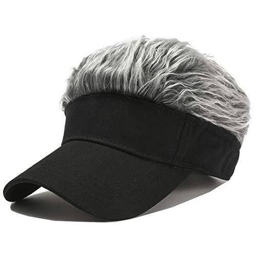 Novelty Hair Visor Sun Cap Wig Peaked Adjustable Baseball Hat with Spiked Hairs (Black Grey)