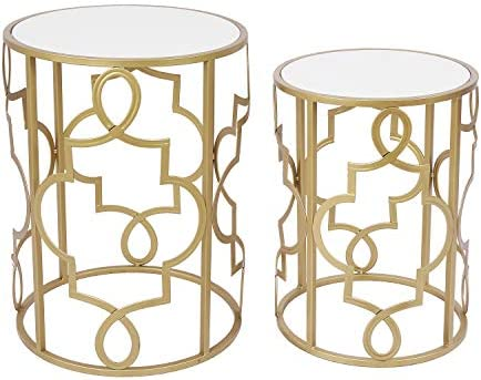 Best Round Nesting End Side CoffeeTables Set of 2(Wooden Top)