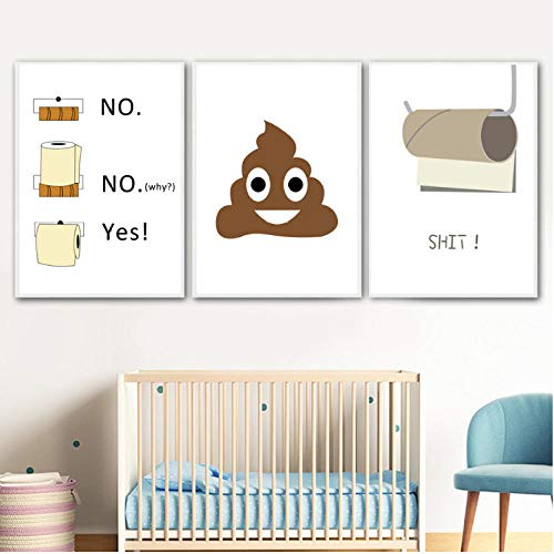 Nordic poster en prints humor toiletpapier grappige schijfjes muurkunst canvas schilderij citaten kunst schilderijen voor toilet woonkamer decoratie 40x60cmx3 niet ingelijst