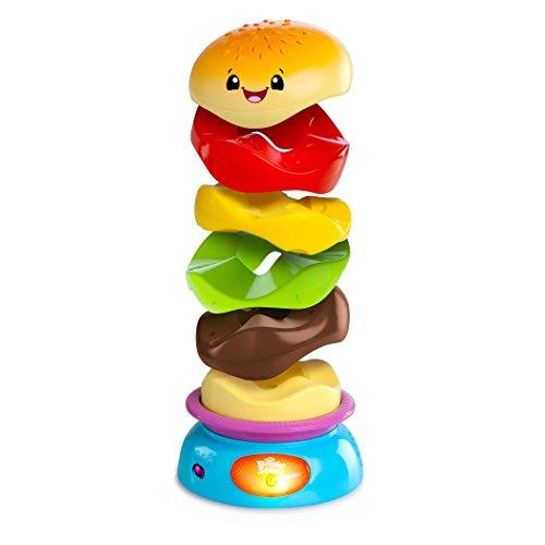 Stack 'N Spin Burger - Bright-Starts, Marrom/Verde/Vermelho/Amarelo/Rosa/Azul
