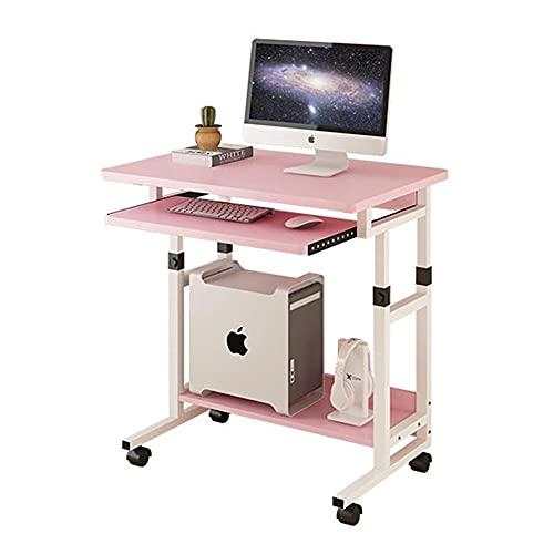 HYAN Escritorio de computadora Escritorio de computadora con Ruedas y Monitor Elevado Estante Ajustable Oficina casera Mesa portátil para Sala de Estar Dormitorio Escritorio (Color : Pink)