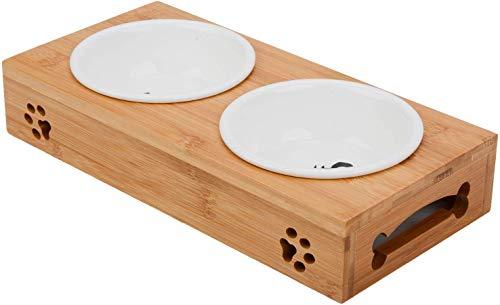 Katze Napf-Set, Anti-Rutsch Katzennäpfe Keramik Set mit Bambus Ständer Haustier-Zufuhr Bambus Stent Doppel Schüssel für Hund Katze
