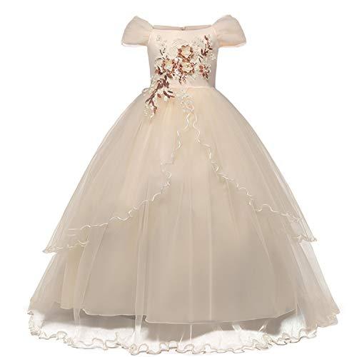 TTYAOVO Mädchen Festzug Ballkleider Kinder Chiffon Bestickt Hochzeit Kleid (Gelb, 7-8 Jahre)