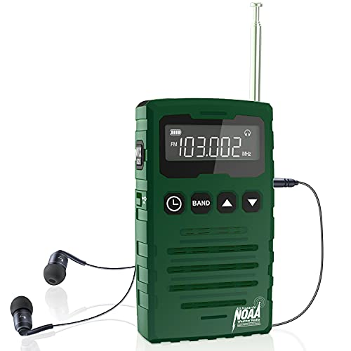 AM FM Radios Pocket Portable with Best Reception and Longest Lasting NOAA Weather Emergency Alert Radio with Stereo Speaker for Indoor,Music Station,Running by ROCAM