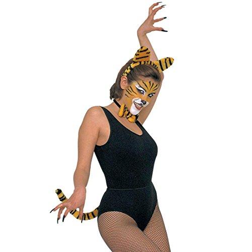 NET TOYS Set de déguisement de Tigre Femme Set d'accessoires Femme Tigre Set pour déguisement Dame Tenue Mardi Gras Carnaval Costume