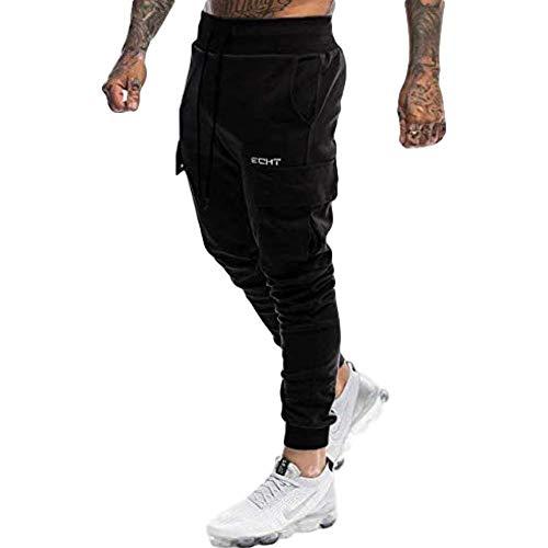 Miwaimao Pantalon de jogging pour homme Casual Pantalon de survêtement Homme Gym Exercice Plus de Poches de Course de Sport Coton Pantalon de Sport - Noir - Medium