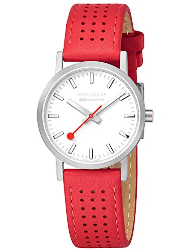 Mondaine SBB - Orologio da donna con cinturino in pelle rossa