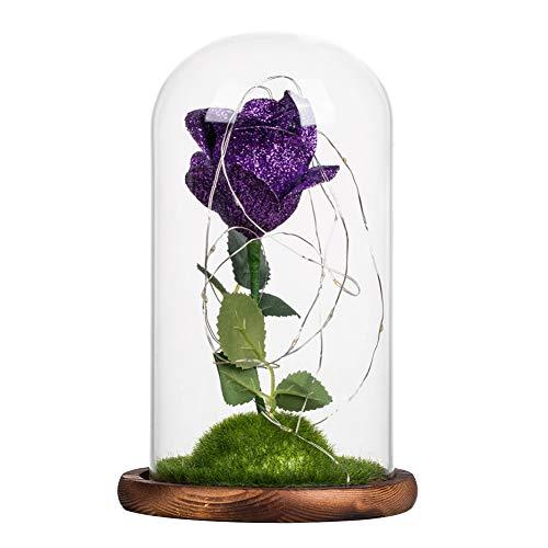 La Belle et la Bête Enchantée Plaqué Or 24K Rose Fleur dans Un Dôme en Verre Couvercle avec Base en Bois Lumière LED pour Cadeau d'anniversaire De Mariage De Saint Valentin