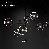 ZLININ ペンダントライト シャンデリア LED ポストモダンLEDシャンデリア天井のリビングルームぶら下がっているライトホーム備品北欧ダイニングルームペンダントランプガラス玉照明 雰囲気づくり アンティーク 北欧 (Body Color : 6 Heads Black, Emitting Color : Warm White)