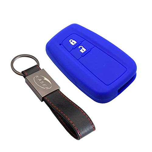 kaser Funda Silicona para Llave Toyota – Carcasa Llaveros 2 Botones para Coche Prius Auris Aygo RAV4 Yaris Vios Cover Case Protección Remoto Mando Auto Keyless (Azul)