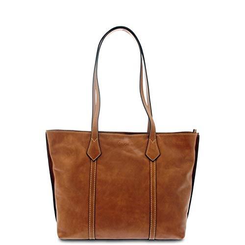 GIUDI ® - Shopping, Damentasche aus wölktem Kalbsleder, Made in Italy, echtes Leder, braun (Braun) - 11740/VCR