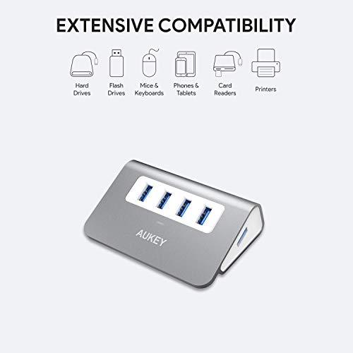 AUKEY USB Hub 4 Port Super Speed 5Gbps Aluminum mit 100cm USB 3.0 Kabel und LED-Anzeige USB 3.0 Hub für Apple MacBook, MacBook Air, MacBook Pro, iMac und weiteren Geräten (Space Grau)