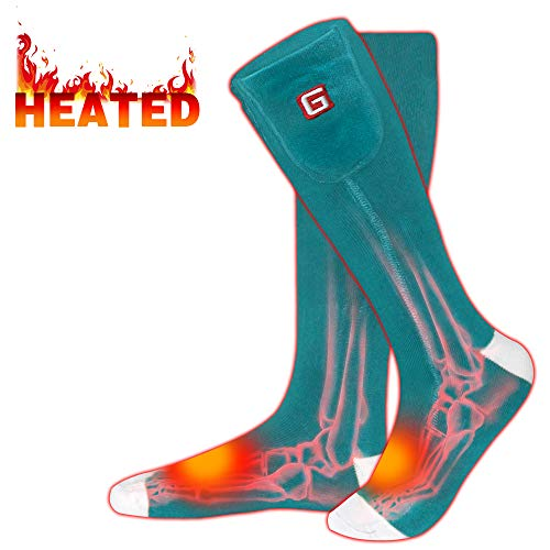 Rabbitroom Electric Heated Socks Rechargeable 3.7V Li-ion Batteries Thermal Insulated Socks for Arthritis, Winter Thick Heating Foot Warmer, Unisex & Free Size (Green-White)