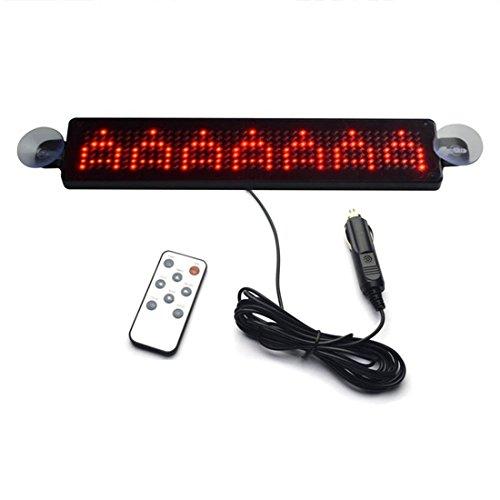 LED-Anzeigetafel - TOOGOO(R)12V Auto LED Programmierbare Verkehrszeichen Rollen Anzeigetafel mit Fernbedienung (rot)