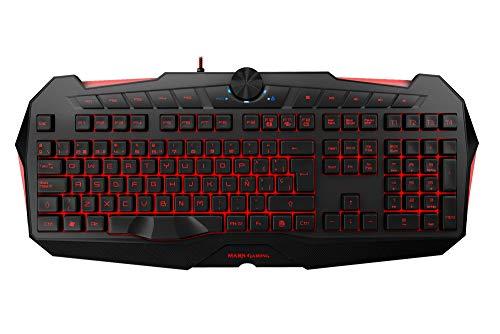 Mars Gaming MK215 - Teclado gaming de membrana (software dual, programable, 5 teclas para macros, 4 perfiles, 4 teclas multimedia, RGB 7 colores, antighosting, teclas desmontables y extras, USB)