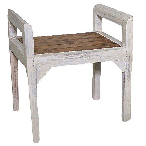 Sitzbank Flur Vintage Hocker Shabby Landhaus Holz Weiß Sitzhocker Holz Rustikal 56 x 51 x 42 cm