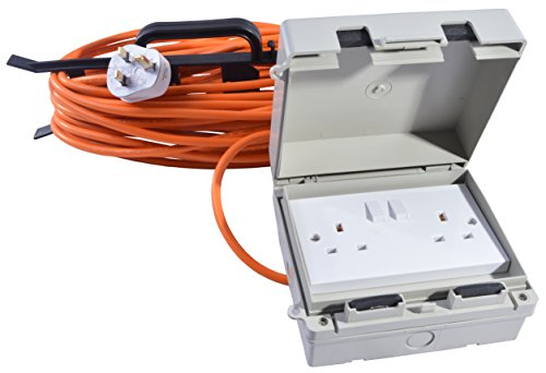All Lengths 13 AMP Weatherproof Mains Outdoor Extension Lead IP65 Orange 2 Socket (25m)