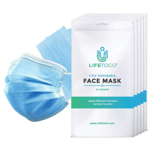 LifeToGo 3-Ply Disposable Face Mask - 50 Pack Of Breathable Masks For Protection - 5 Individual Packs of 10 Protection Masks. Protection for you and your family, and from airborne threats.