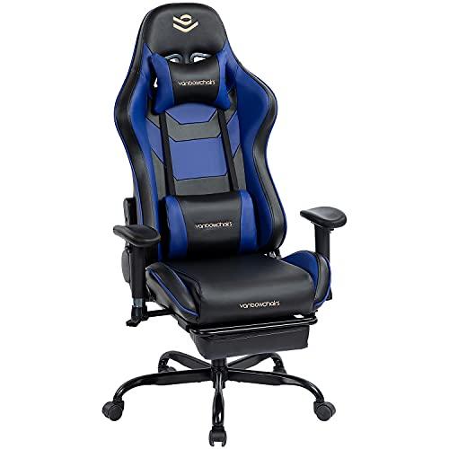 Kasorix Hohe Rückenlehne Bürostuhl Gaming Stuhl mit Verstellbarer Armlehne Executive Schwenken Bürostuhl blau PU Leder Gaming Chair 8512 (BLUE-8512)