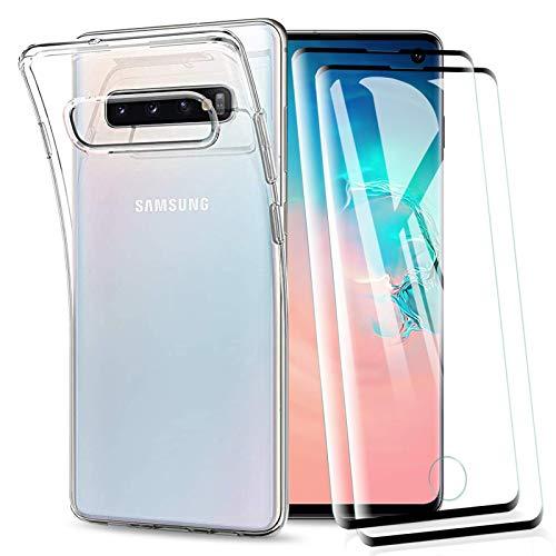 KEEPXYZ Cover per Samsung Galaxy S10 con Vetro Temperato Pellicola Protettiva, Antiurto Morbido Silicone TPU Trasparente Bumper Custodia + 2 Pezzi Proteggi Schermo per Samsung Galaxy S10