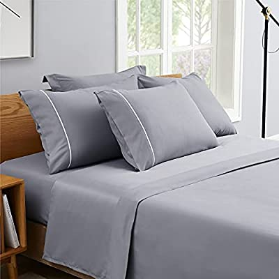 Bedsure 6 Piece Queen Bed Sheets Set Grey - 16 inches Deep Pocket Queen Sheet Sets Soft Brushed Microfiber, Wrinkle and Fade Resistant Double Bed Sheets