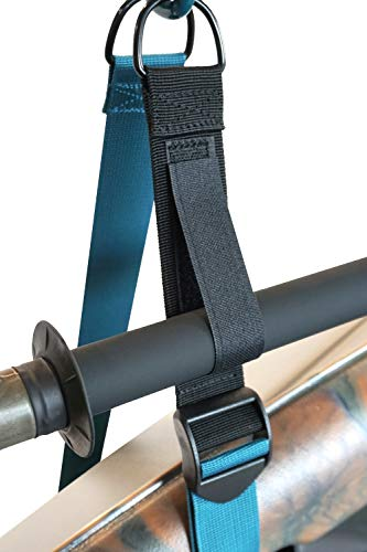 Pelican Double Kayak Storage Strap System - for Indoor and Outdoor Kayak & SUP Paddle Board Hangers - Comes with Paddle… 7 2 fully adjustable straps can also be used for hanging stand up paddle boards, canoes, surfboards, snowboards. Each strap is rated to hold up to 100 lb. and the overall system is rated to hold a total of 200 lb 2 loops for oars/paddles - SAVE SPACE - store your paddles and kayak off the ground and out of the way. Modular system can be use for one or two kayaks Easy to use Stainless steel heavy-duty carabiners and D-ring closure system