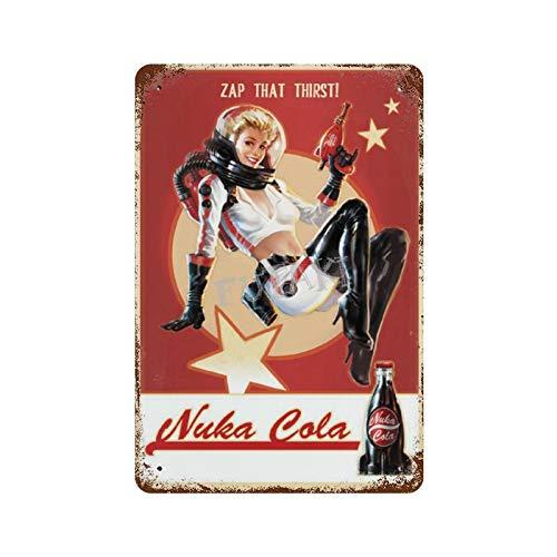 Huzkc Zap That Thirsti Nuka Cola Beauty Vintage-Blechschild, Kunst, Eisengemälde, rostiges Poster, Dekoration, Aluminiumschild, interessante Persönlichkeit, Bandfilm, 30 cm x 40 cm