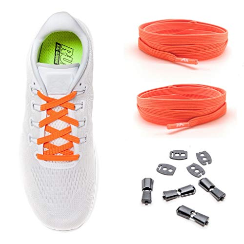 MAXX laces elastische Schnürsenkel flach für alle Schuhe - Schnellverschluss Schnürbänder ohne binden für Damen, Herren, Kinder - Sneaker, Sportschuh, Arbeitsschuh, Trekkingschuh [Neon Orange]