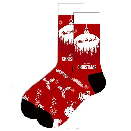 Miwaimao Calcetines de marea para hombre, bola de Navidad, alce volador, 39 yardas, 46 yardas ~