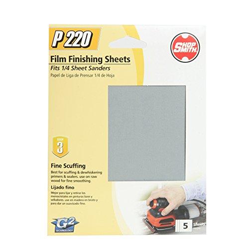 "220 Grit Aluminum Oxide Sanding Sheets (5 Pack), 4.5"" x 5.5"" - Shopsmith 12314"