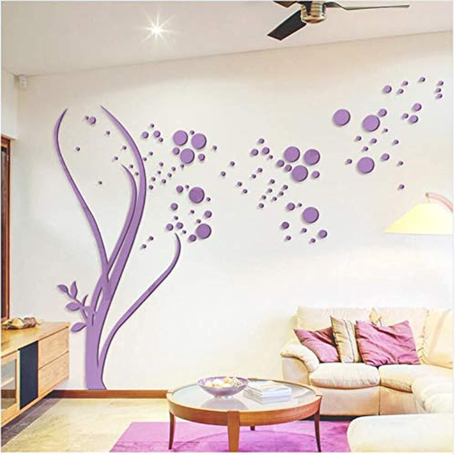 Stickers 3D Large Size Round Dots Tree Wall Stickers Home Decor Living Room Art Background Acrylic Mirror Stickers 3D Wall Decals,150X100Cm,Ayzr