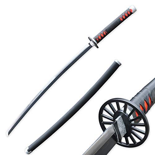 RENGENG Cosplay Anime Kamado Tanjirou Katana Samurai Sword, Carbon Steel, Hand-Wound Leather Rope, Black/Red