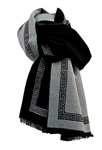 Pietro Baldini Pregiata sciarpa di seta da uomo double-face grigio e nero Taglia unica