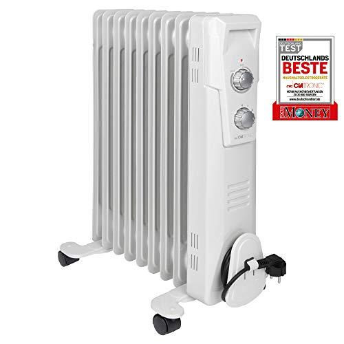 Clatronic RA 3736 9 Ribs-olieradiator, mobiele radiator tot 2000 watt, warmteregulering via traploze thermostaatregelaar, flexibel gebruik door 4 lichtlopende wielen, Slimline-constructie, wit