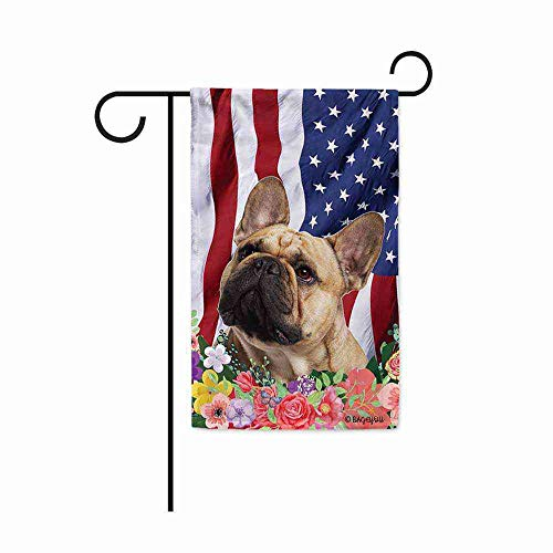 BAGEYOU American Flag with My Love Dog French Bulldog 4th of July Patriotic Decoraive Garden Flag for Outside Colorful Flowers Summer Home Decor Banner 12.5X18 Inch Printed Double Sided