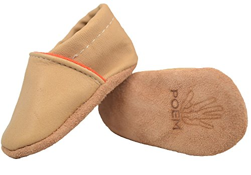 Poem Authentic Native American-Made (Huron/Wendat) Leather Crib Shoe Moccasin Slippers - Unlined - for Infants/Babies/Children/Toddlers (Tan/Natural/Orange) Style #163 (S (6-12 mos.))
