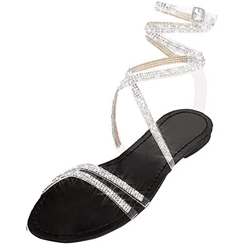 Liart Sandalias Mujer Verano 2021 Sandalias Planas Sandalia con Pulsera Rodilla Alta Romano Tiras Gladiador Sandalias Playa Crystal Sexy Shoes